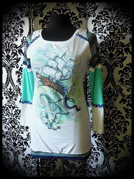 White blue mint yellow tunic top Threadless ship octopus - size S/M