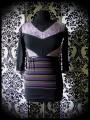Haut noir violet gris découpes motif léopard et rayures - taille S