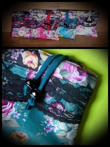 Teal zippered purse floral print
