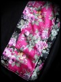 Robe noire motif floral rose framboise - taille S/M