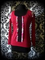 Red top with pink floral print and black lace - size S/M