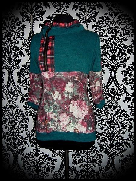 Sweat capuche maille vert foncé détails motif floral - taille M/L