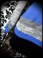 Sweat bleu roi grand col détails chinés bleu/blanc - taille S/M