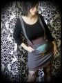 Grey/taupe strap skirt with pockets Threadless print - size S/M