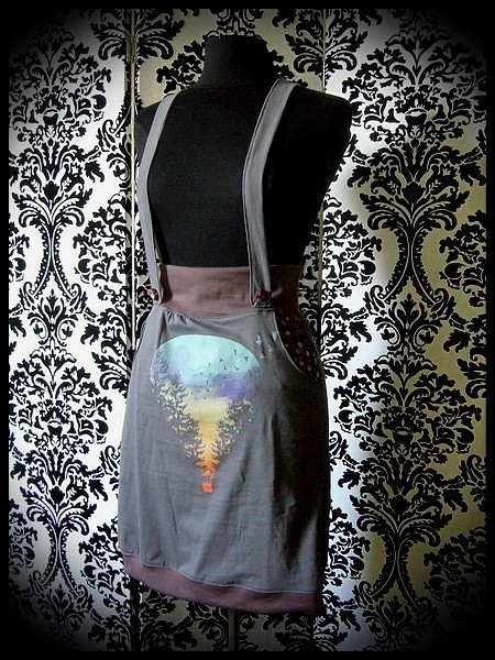 Jupe à bretelles et poches grise/taupe Threadless - taille S/M