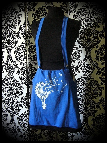Blue/black strap skirt with pockets Threadless print - size S/M