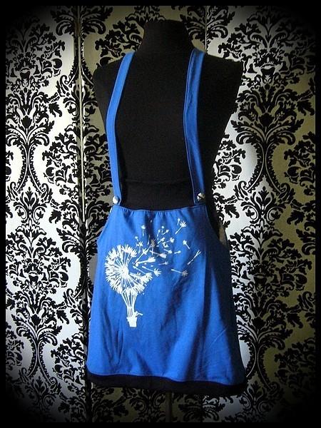 Jupe à bretelles et poches bleue/noire Threadless - taille S/M