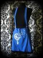 Blue/black strap skirt with pockets Threadless print - size S/M
