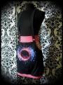 Jupe à bretelles et poches noire/rose Threadless - taille M/L