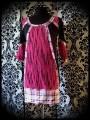 Black/hot pink striped dress plaid details - size S/M