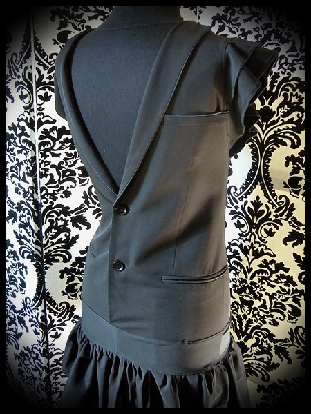 Black dress with open back upcycled mens suit - size XS/S