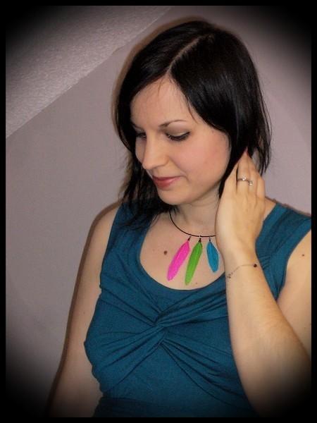 Collier tour de cou plumes turquoise/rose/verte