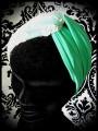 Turban effet croisé vert dentelle crème