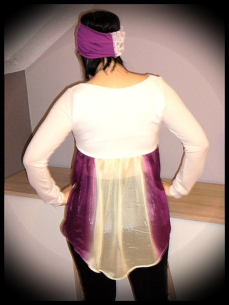 Cream gold top with plum muslin back - size S/M