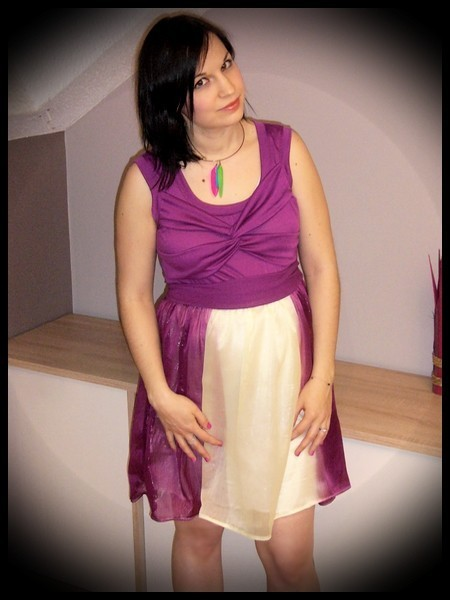 Robe prune mousseline - taille M
