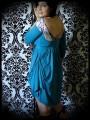 Robe drapée bleu canard encolure bateau - taille S/M
