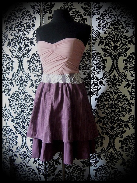 Robe bustier vieux rose prune détail dentelle écrue - taille XS/S