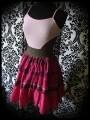 Robe fines bretelles rose pâle rose vif détail dentelle marron - taille S/M