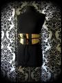 Yellow / black obi belt beige mustard details - one size fits most