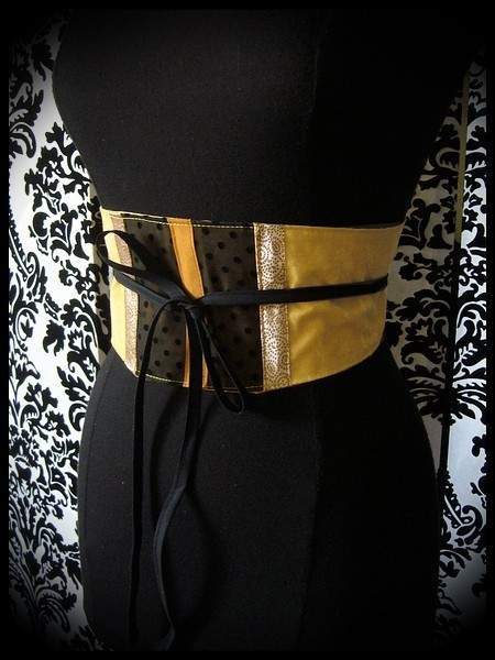 Yellow / black obi belt beige mustard details - one size fits most