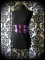 Purple / black obi belt light pink hot pink details - one size fits most