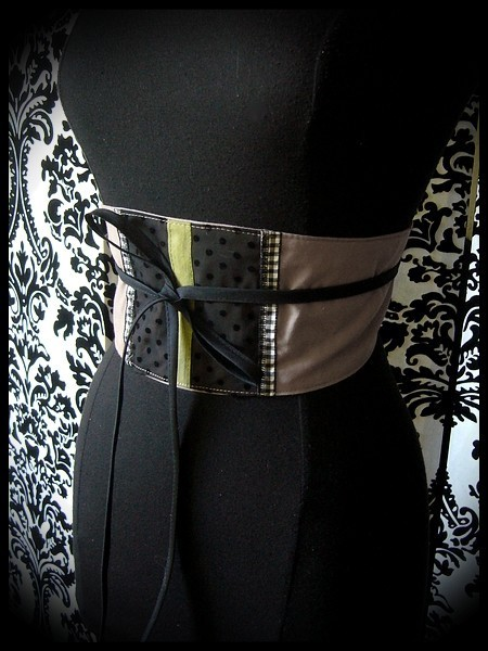 Taupe / black obi belt khaki and gingham details - one size fits most