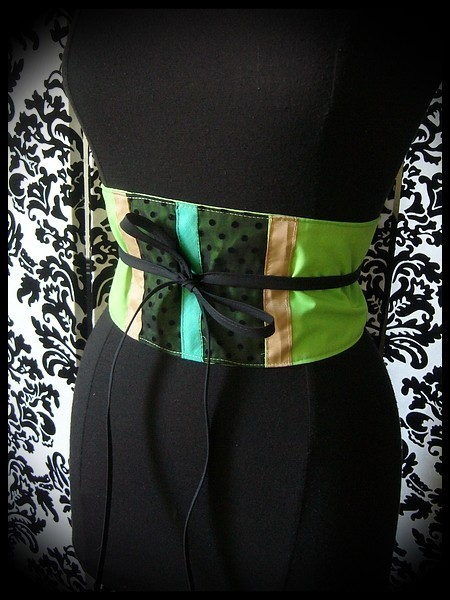 Neon green / black obi belt green and beige details - one size fits most