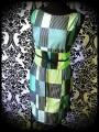 Retro wiggle dress green with grey/black stripes - size S/M