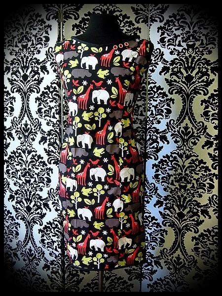 Robe droite rétro noire motifs animaux - taille S/M