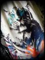 Robe noire détails dentelle motif tigre - taille S/M