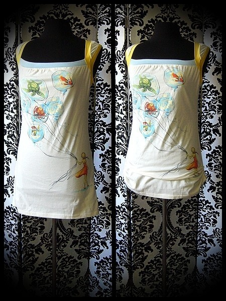 Tunic top Threadless girl with balloons print - size S/M