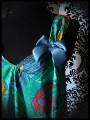 Robe trapèze à poches verte motif tropical - taille S/M