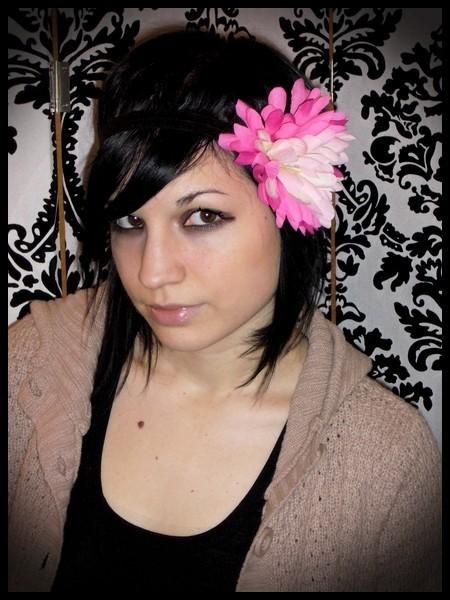Headband hairband or hair clip brooch HOT PINK flower