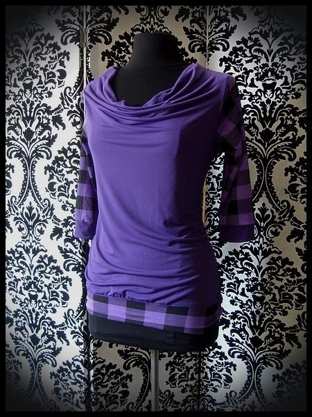 Haut violet col bénitier motif carreaux - taille S/M