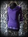 Purple draped top plaid print - size S/M