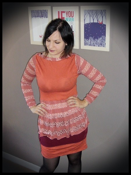 Orange top stripes / leopard print - size XS/S