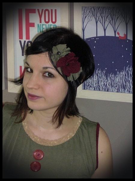 Black headband w/ khaki green and dark red flowers
