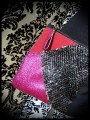 Black fake leather bag clutch frambosia / hot pink glitter details