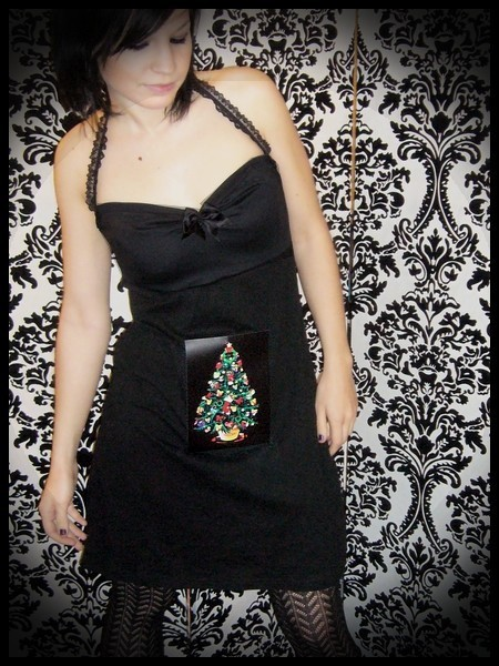Black halter dress LED Christmas tree - size S/M
