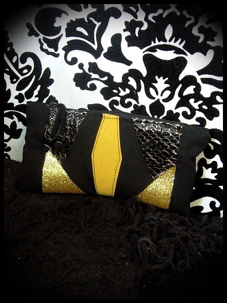 Black zippered purse gold glitter details