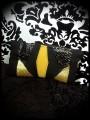 Black zippered purse gold glitter details