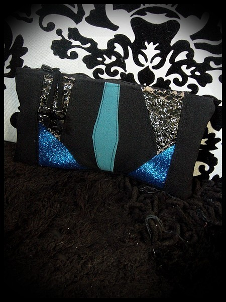 Black zippered purse royal blue glitter details