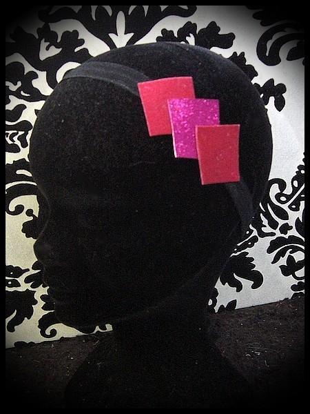 Black headband frambosia / hot pink glitter
