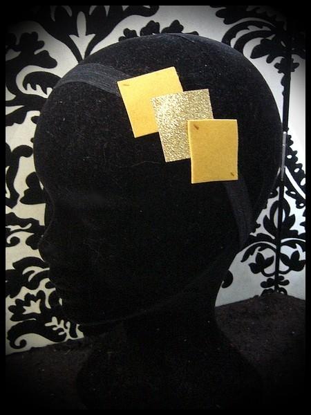 Bandeau noir losanges jaune / doré pailleté