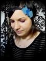 Black headband sky blue / royal blue glitter