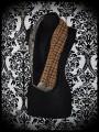 Brown camel tubular scarf black fake fur lining