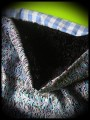 Blue tubular scarf black fake fur lining