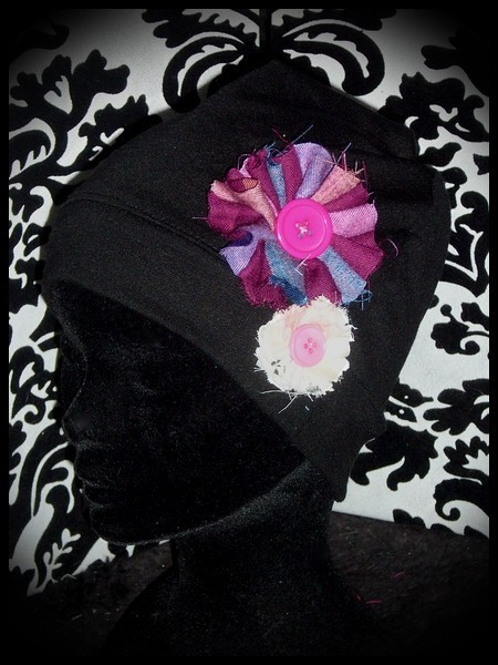 Black hat w/ pink fabric flowers