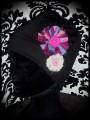 Black hat w/ pink fabric flowers
