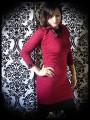 Dark red dress w/ asymmetrical collar black/plum details - size S